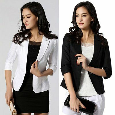 Fashion Women 3/4 Sleeve OL Slim Fitted One Button Short Blazer Coat Jacket Suit
