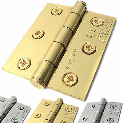 "Pair Of 3""/75mm HIGH QUALITY BUTT DOOR HINGES + SCREWS Heavy Duty Strong Steel"