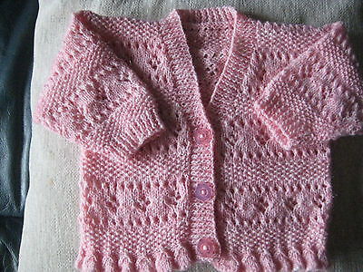 Girls Hand knitted baby cardigan in 4ply