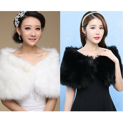 Womens Soft Plush Faux Wool Fur Bridal Wedding Stole Wrap Shrug Shawl Cape Scarf