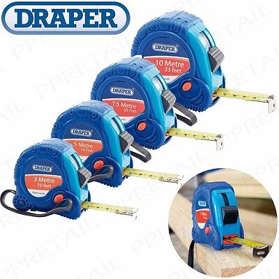 DRAPER Small-Large 3M-10M TAPE MEASURES Soft Grip Retractable Measuring Tool
