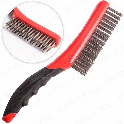 4 ROW STEEL WIRE BRUSH WITH SOFT GRIP HANDLE Paint/Rust Removal Metal Cleaner