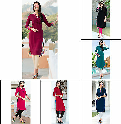 Designer Solid & Floral Print Women Crepe Fabric Ethnic Tunic Casual Dress Kurti