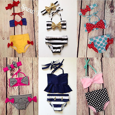 3pcs Kids Baby Girls Bikini Set Swimwear Swimsuit Bathing Suit Beach UK Stock