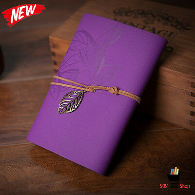 PURPLE LEAVES pu Leather New Blank Notebook Diary Charms Rustic PERSONAL JOURNAL