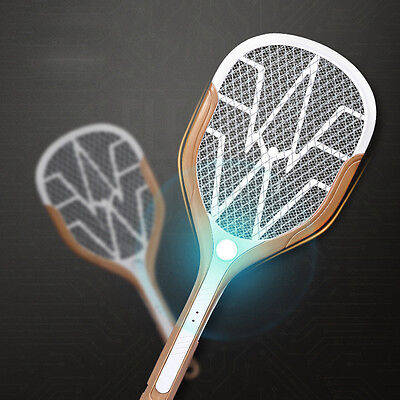 Recharging Hand Held Mosquito Bug Insect Swatter Zapper Racquet & LED Light USB