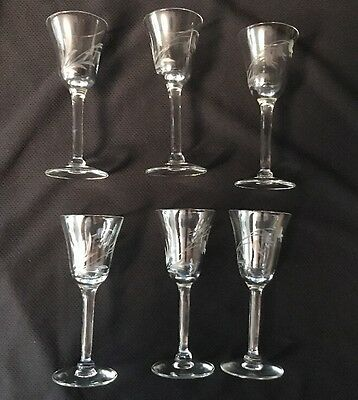 6 Antique Small Crystal etched Floral Stem Cordial Glass - Glassware