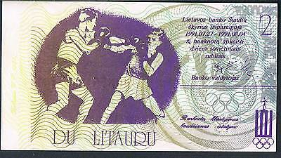 Lithuania Olympic Banknote 1991 2 Litauru Unc - Boxing