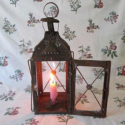 AUTHENTIC 19thC LARGE ANTIQUE FRENCH TOLEWARE CANDLE LANTERN VINTAGE TIN LAMP