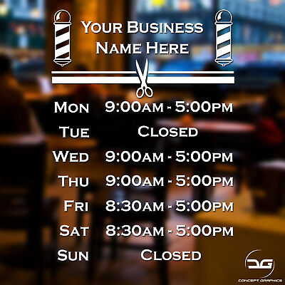 Barber Shop Personalised Custom Opening Hours Window Sign Vinyl Decal Sticker
