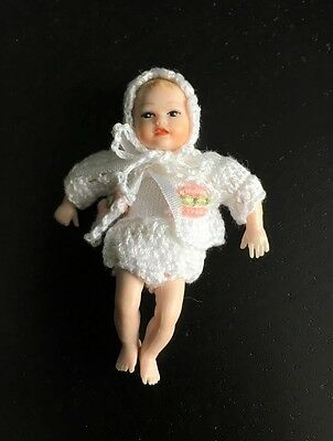 Heidi Ott Baby In White Clothing, Dolls House Miniature, Doll Baby 1.12 Scale