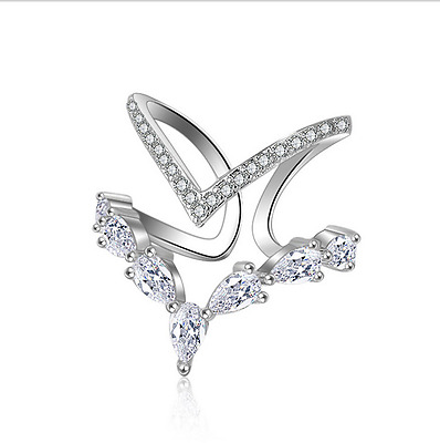 Ladies Wedding Party S925 Sterling Silver Natural Zircon Ring Size 8 Adjustable