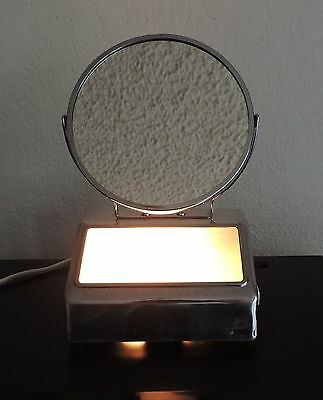 VTG Two-Sided Vanity Lighted Mirror Magnifying Makeup Shaving Mirror Mid Century