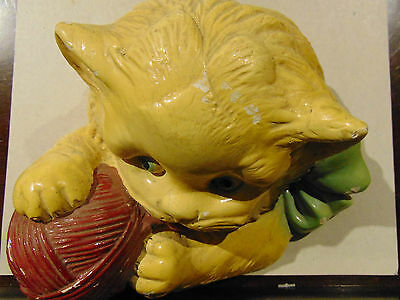 Vintage 40-50'S Ceramic Cat with yarn String Holder
