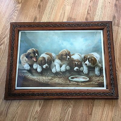 "Adorable Antique Framed Dog Print  "" Where is Mother ""  Copyright 1892"