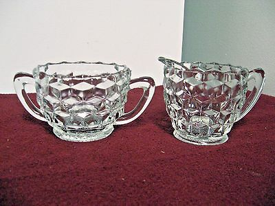 Older 2-pc Jeannette Cube/Cubist Pattern  Cream & Sugar Set