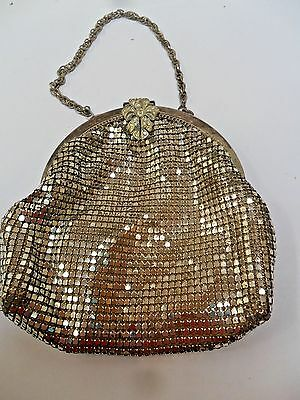 Vintage Silver Lady's Evening Bead Bag Purse Needs Repair