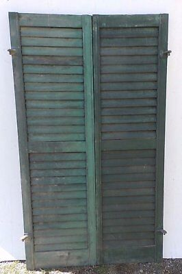 Pair Antique Window Wood Louvered Shutter Shabby Old Chic Vtg 54x15 406-17R