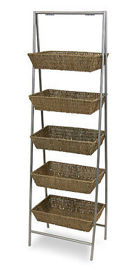 Wicker Basket Rack Floor Standing Bulk Impulse Store Display 5-Tier Fixture NEW