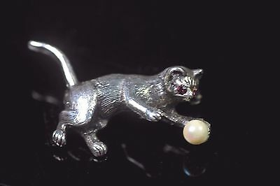 Vintage Silver Cat Brooch Pink Eyes & Pearl Ball Art Deco 1920'S -1940'S