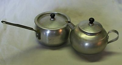 Childs Vintage  Toy Aluminum Kettle And Saucepan