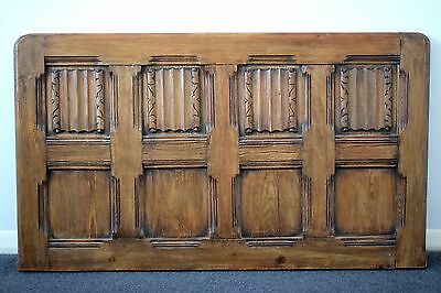 Large Antique Solid Oak Carved Wooden Panel Decorated With Scrolls