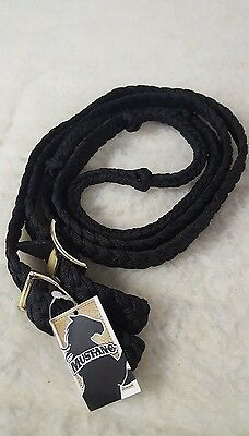 New Mustang 8 ft. Knotted Cord Barrel Reins - Black