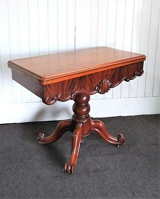 Antique turn over top fold out Victorian pedestal console tea table