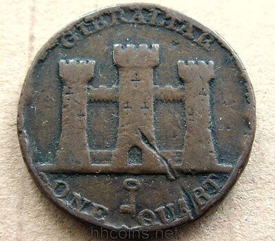 Gibraltar Queen Victoria 1842 Quart, Castle, Copper