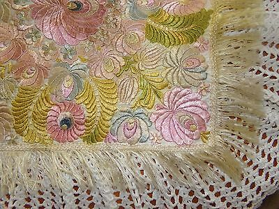 "Antique 1920's / 30's Matyo Hungarian Silk Embroidered Table Topper 22"" X 22"""