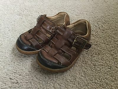 Boys Clarks Brown Leather Sandal Shoes 5F