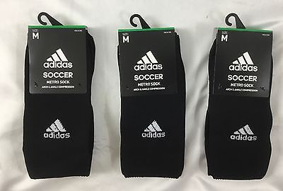 Adidas UNISEX Soccer Metro Socks Arch & Ankle Compression 3-Pack Black Size M