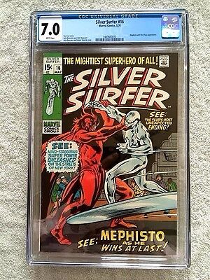 The Silver Surfer #16 CGC 7.0 WHITE pages Marvel May 1970 Mephisto and Nick Fury