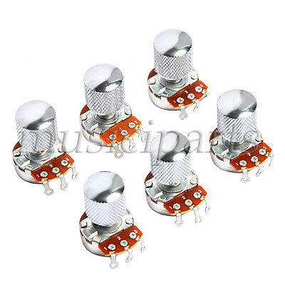 6 Pcs Guitar Volume Potentiometer Pot B500K Full Size Black Metal Dome Knob