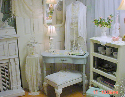 Kidney Shape Vanity Painted French Blue Vintage Romantic Shabby Cottage Chic