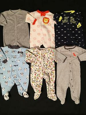 Boys Newborn 0/3 3 Months Light Weight Footed Sleepers Pajama Clothes Lot B74