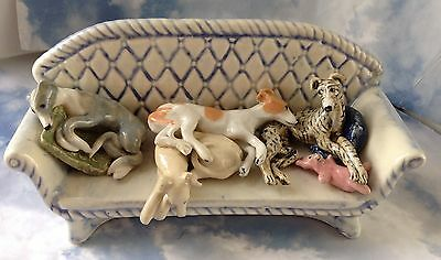 Four Whippet Greyhound Dogs Sofa Stoneware Pottery Figurine Handmade Sculpture