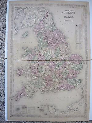 Original Antique 1864 A.J. Johnson's 2 Page Atlas Map of England and Wales