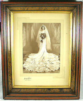 Victorian 3 Tier Deep Walnut & Faux Woodgrain Picture Frame with Brides Photo