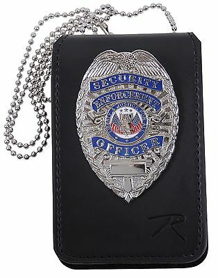 "Black Leather Law Enforcement Security Badge & ID Holder w/ 33"" Neck Chain 1136"