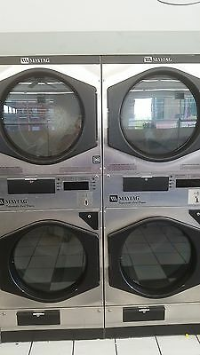 21 - Maytag (ADC) 30LB Stack Coin Operated Dryers, Commercial, NG, STAINLESS