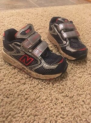 NEW BALANCE Toddler Boy's Athletic Tennis red/silver/navy SHOES Sz 7 ?Wide?*