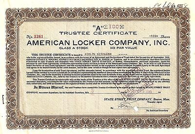 100sh 1940 OLD CANCELED STOCK CERTIFICATE AMERICAN LOCKER CO INC Adolph Herrmann