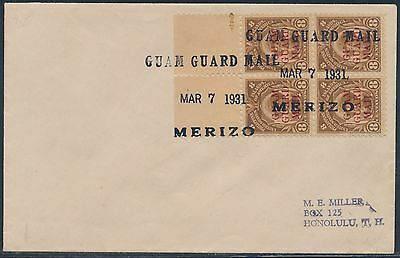 Guam #m10 Block Of 4 With Guam Guard Mail Cancel March 7,1931 On Cover Bt7517