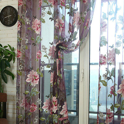 Home Floral Tulle Voile Door Window Curtain Drape Panel Sheer Scarf Valances #E