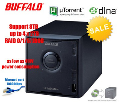 Buffalo NAS LinkStation QUAD LS-QL - uTorrent DLNA RAID 0/1/5 up to 8TB