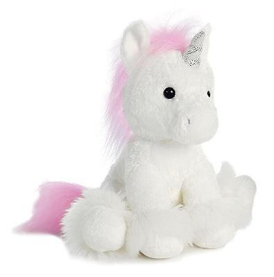 New 10 in. Tall Dreaming of You Unicorn Plush White Small Sparkle Stuffed Toy