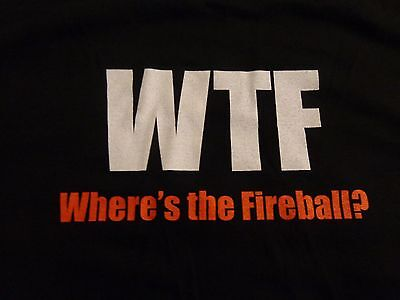 Fireball Cinnamon Whisky - WTF - Men's T Shirt - Black - Devil Logo - Size Large