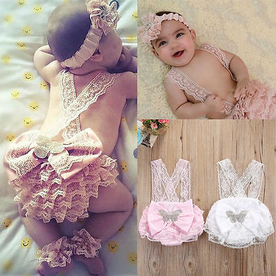 Infant Kids Baby Girl Lace Floral Romper Photo Prop Outfits Sunsuit UK Stock