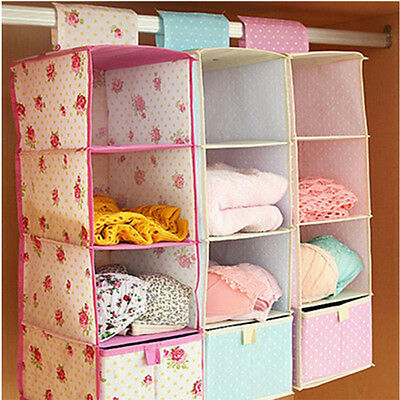 1x 4-layer Wardrobe Storage Bag Drawer Box Hanging Clothes Holder Rack Organizer